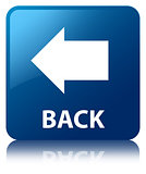 Back arrow glossy blue reflected square button