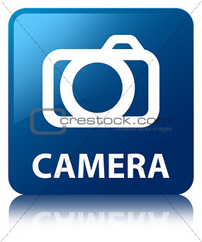 Camera glossy blue reflected square button