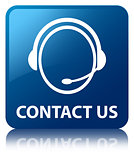Contact us glossy blue reflected square button