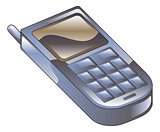 Illustration of mobile phone icon clipart