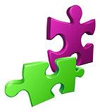 Illustration of shiny jigsaw puzzle pieces icon