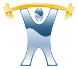 Strong weightlifting barbell illustration icon