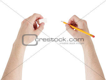 adult man hands with pencil and eraser