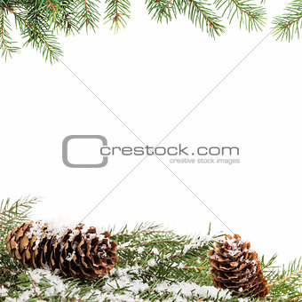 christmas ornament background with fir branches
