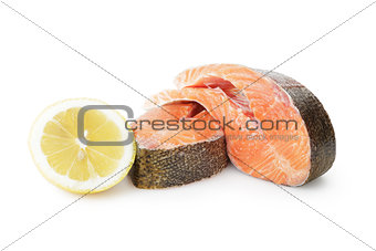 fresh trout steaks with lemon