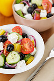 fresh greek salad in white bowl