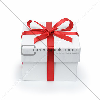 white textured gift box with ribbon bow