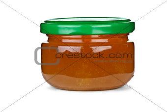 Tiny glass jar with honey