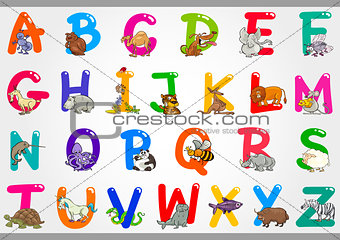 Cartoon Alphabet with Animals Illustrations
