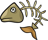 fish bone clip art cartoon illustration