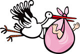 stork with baby cartoon illustration