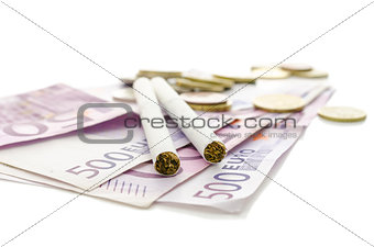 Cigarettes on European currency