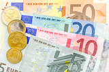 Euro money coins and banknotes top view