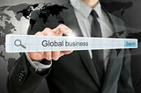 Global business written in search bar