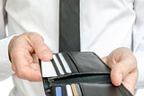 Man paying with credit cards