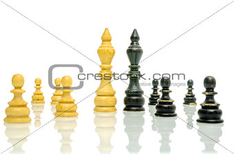 Old black and white chess figures