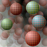 Balls with a texture on the background of transparent balls