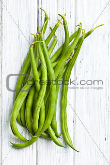 green beans on kitchen table