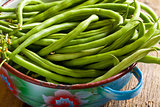 fresh green beans in bowl