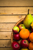 fruit background vintage wooden autumn food nature