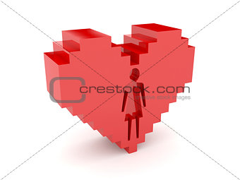 3D heart. Female figure cutout inside.
