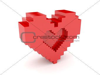 3D heart. Heart symbol cutout inside.