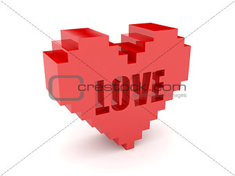 3D heart. Text Love cutout inside.