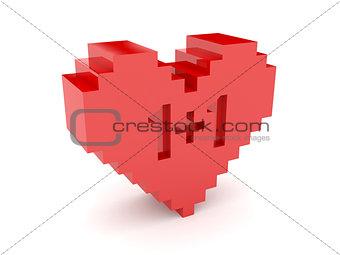 3D heart. 1+1 cutout inside.