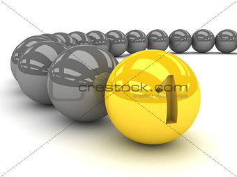 Grey balls with the gold leader in front.