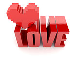 3D text Love and heart
