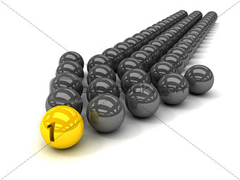 Grey arrow of the balls with the gold leader in front.