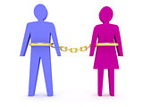 Man and woman linked by golden chain.