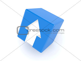 3D blue cube with an arrow pointing up.