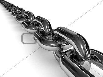Chromed chain over white background.