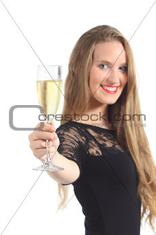 Beautiful woman toasting with champagne