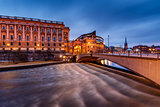 Riksdag Building and Riksgatan Bridge in the Evening, Stockholm,