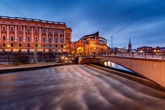 Riksdag Building and Riksgatan Bridge in the Evening, Stockholm,