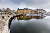 Strandvagen Embankment with Many Luxury Yachts in Stockholm, Swe