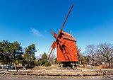 Traditional Swedish Windmill in Skansen National Park, Stockholm