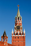 Spasskaya Tower of Kremlin on the Red Square in Moscow, Russia