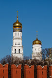 Ivan the Great Bell Tower behind Kremlin Wall, Moscow, Russia