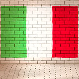 Italy flag brick wall background
