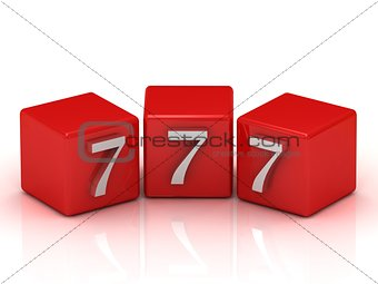 777 number on the red cubes isolated