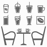 Set of drinks in coffee shop on white background