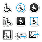 Man on wheelchair, disabled, emergency exit icons set
