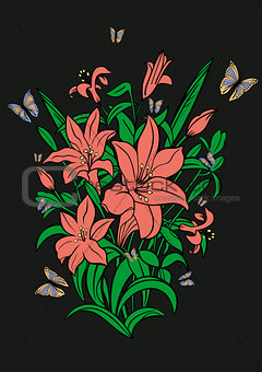 Abstract flowers and butterflies with background