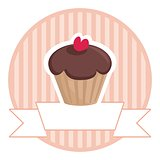 Sweet vector retro chocolate and toffee muffin cupcake with red heart and pink strips vintage background with white place for your own text