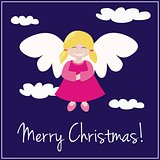 Vector card with Merry Christmas wishes and sweet smiling angel flying in the sky.