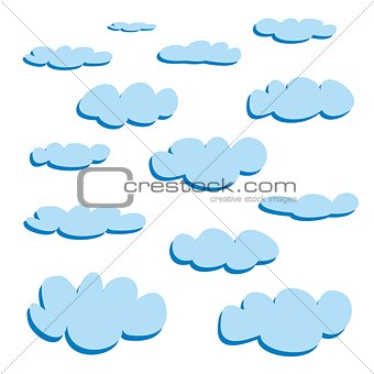 Blue cartoon clouds isolated on white background vector set