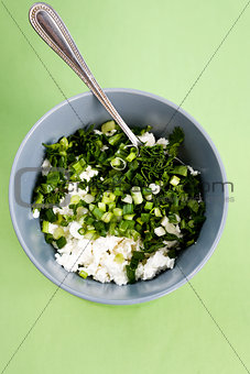 Cottage cheese and fresh herbs for diet food